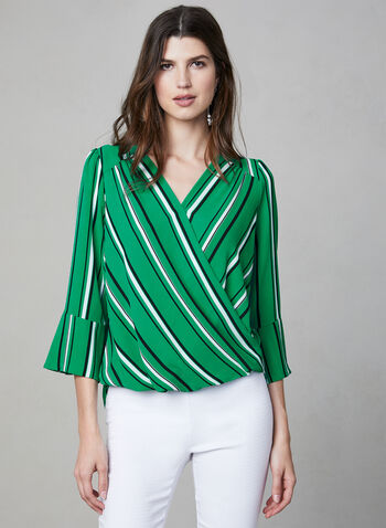 Stripe Print ¾ Sleeve Blouse, Green, hi-res,  faux wrap, v-neck, 3/4 sleeves, high low, spring 2019, summer 2019