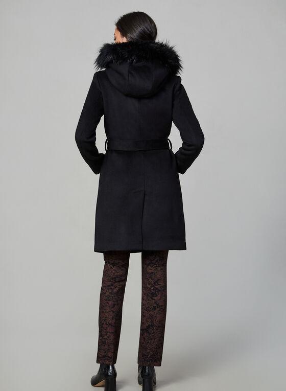 Karl Lagerfeld Paris - Manteau en laine ceinturé, Noir, hi-res
