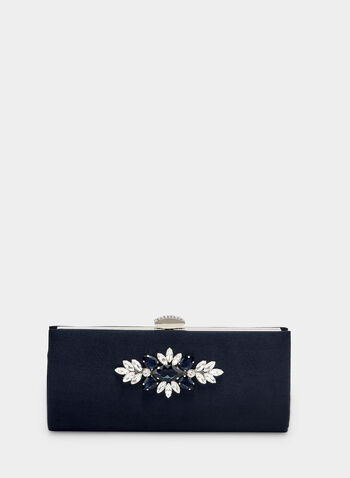 Floral Appliqué Clutch, Blue, hi-res