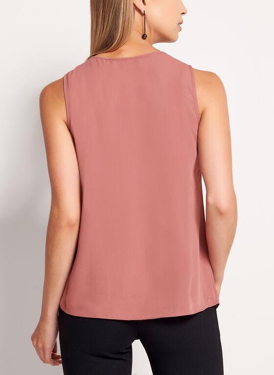 Keyhole Neck Ruffle Front Blouse, Pink
