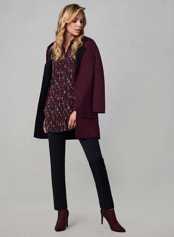 Balloon Sleeve Chiffon Top, Red, hi-res,  long sleeves, abstract print, chiffon, blouse, fall 2019, winter 2019