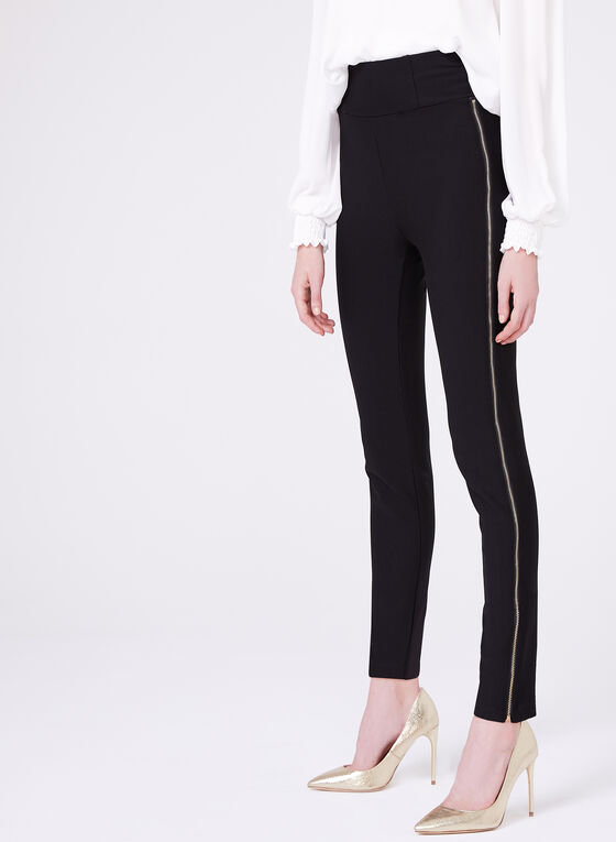 Frank Lyman - Zipper Trim Slim Leg Pants, Black, hi-res