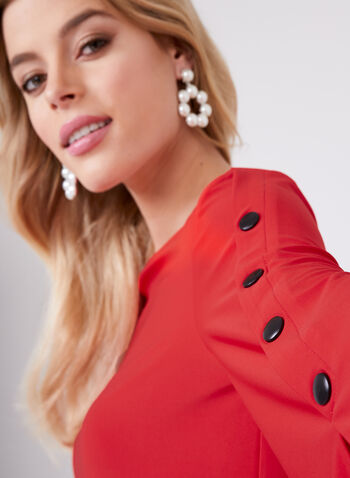 Bell Sleeve Snap Detail Top, Red, hi-res