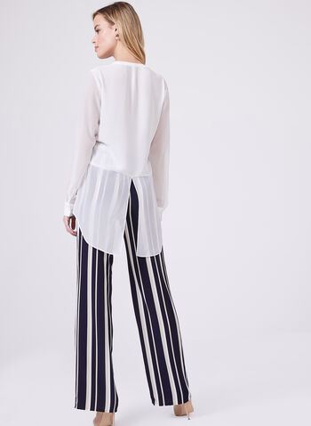 Conrad C - High-Low Chiffon Blouse, Off White, hi-res