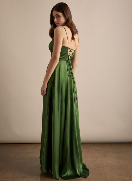 BA Nites - V-Neck Satin Dress, Green