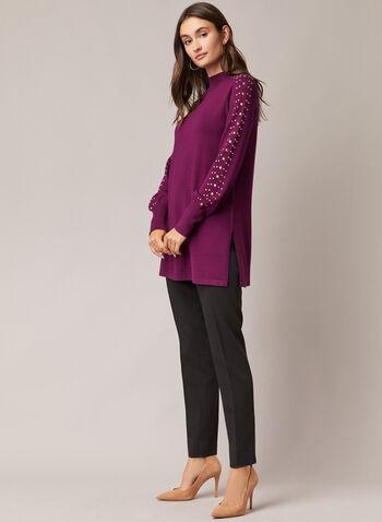 Pull tunique à détails cloutés, Violet,  pull, col montant, manches ballon, tricot, cloutés, automne hiver 2020