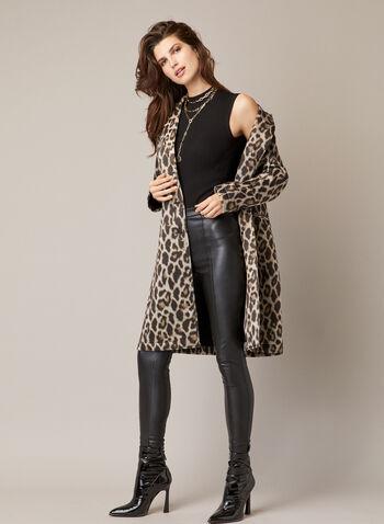 Manteau boutonné à motif léopard, Noir,  automne hiver 2020, manteau, boutons, motif, léopard, animal, animalier, col cranté, boutons