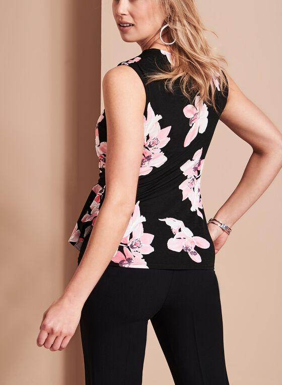 Extended Sleeve Floral Print Top, Black, hi-res