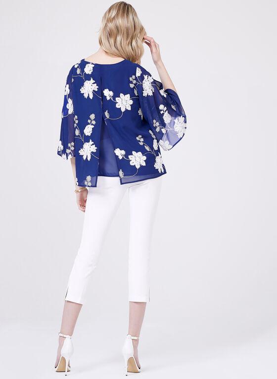 Embroidered Cold-Shoulder Blouse, Blue, hi-res