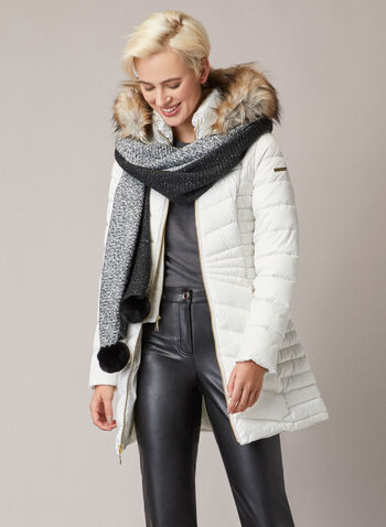 Laundry by Shelli Segal - Quilted Vegan Down Coat, Off White,  coat, quilted, vegan, down, hood, faux fur, stand collar, fall winter 2020