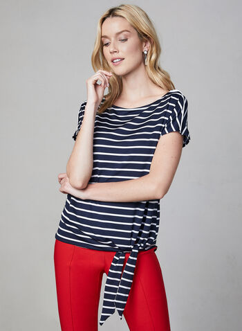 Tie Front Jersey Top, Blue, hi-res,  Spring 2019, stripe print, tie detail, made in canada