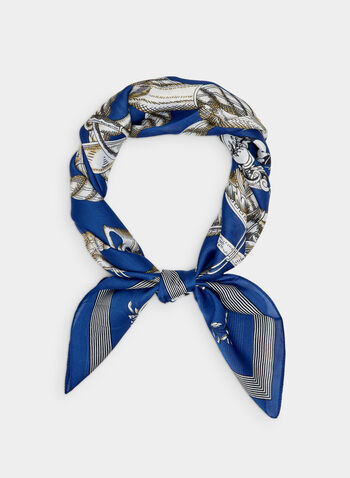 Chain Print Scarf, Blue, hi-res,  chain print, square print, silky, polyester, fall 2019, winter 2019