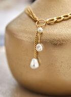Collier à chaînes et pendentifs perles, Blanc cassé