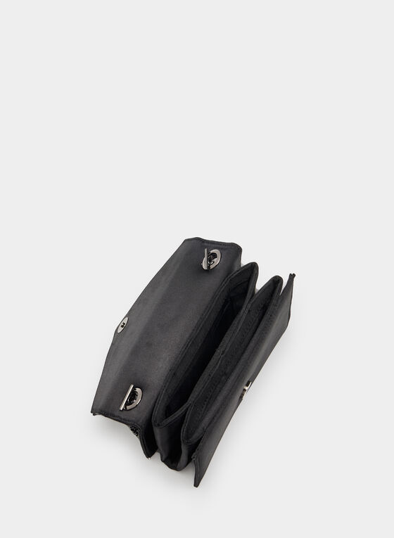 Satin Envelope Clutch, Black, hi-res