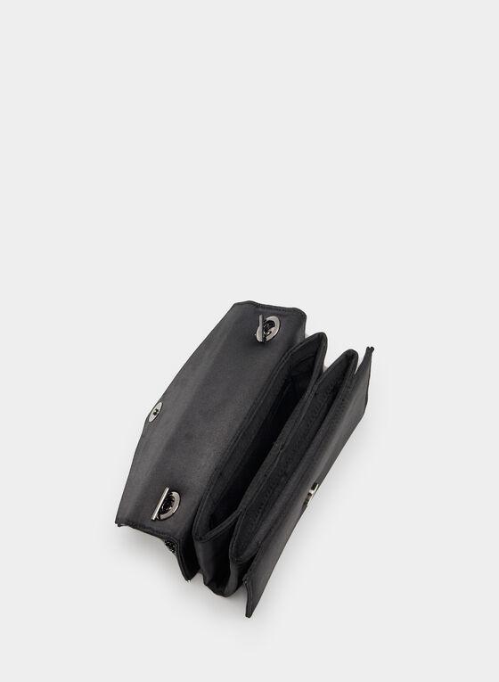 Satin Envelope Clutch, Black