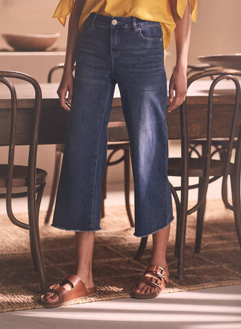 Frayed Hem Gaucho Jeans, Blue,  denim, gaucho, pants, wide leg, frayed, pockets, spring summer 2020