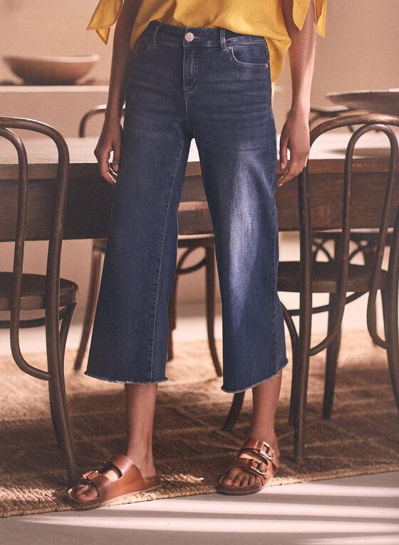 Jeans gaucho à ourlet effiloché, Bleu