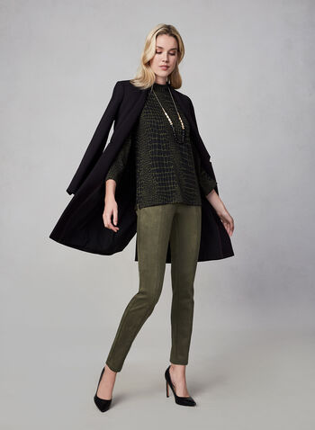 Crocodile Print Top, Black,  fall winter 2019, top, 3/4 bell sleeves, knit,