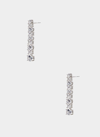 Tiered Crystal Earrings, Silver,  earrings, crystal, metallic, tiered, spring summer 2020