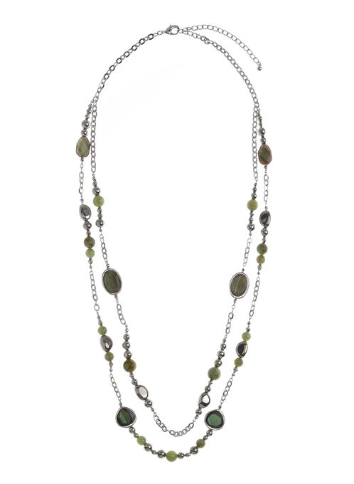 Resin Insert Mixed Bead Necklace, Green, hi-res