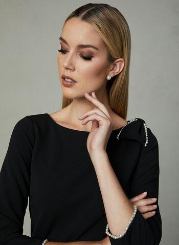 Karl Lagerfeld Paris - Robe en crêpe à nœud perlé, Noir, hi-res