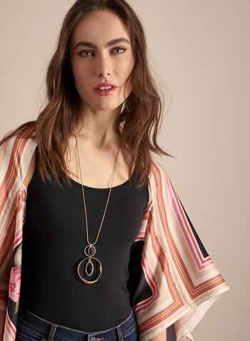 Vince Camuto - Mix Floral & Stripe Print Poncho, Black,  Vince Camuto, shawl, poncho, wrap, stole, floral print, spring 2020, summer 2020