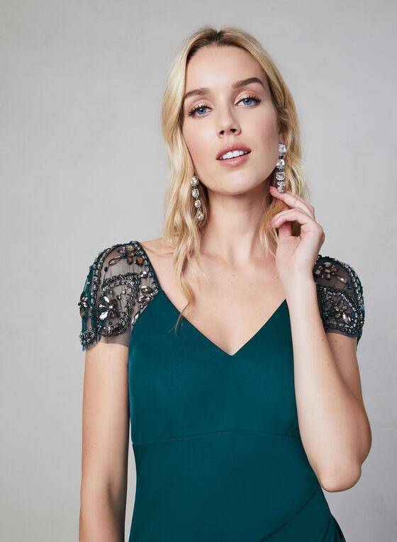 Xscape – Beaded Cap Sleeve Evening Dress, Green