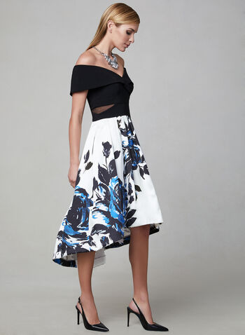 BA Nites - Floral Print Midi Dress, Black,  Off-the-shoulder, satin, jersey, spring 2019