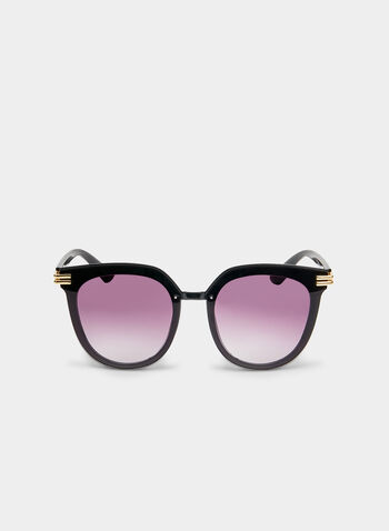 Metal Detail Sunglasses, Black, hi-res