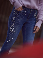 Crystal & Pearl Detail Jeans, Blue