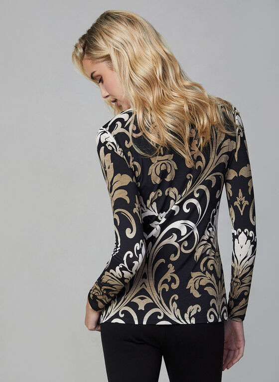 Haut motif baroque à manches longues, Noir