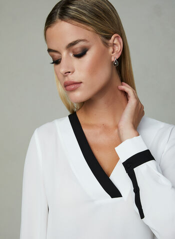 Long Sleeve Chiffon Blouse, Off White, hi-res