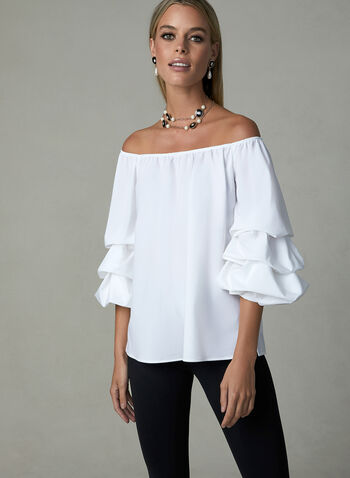 Joseph Ribkoff – Tiered Balloon Sleeve Top, White, hi-res