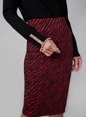 Jupe crayon à motif zébré, Noir, hi-res,  jupe étroite, jupe courte, zèbre, motifs, imprimé, imprimés, jupe ajustée, Canada, fait au Canada, jacquard