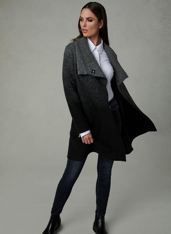 Manteau court en laine deux tons , Gris, hi-res