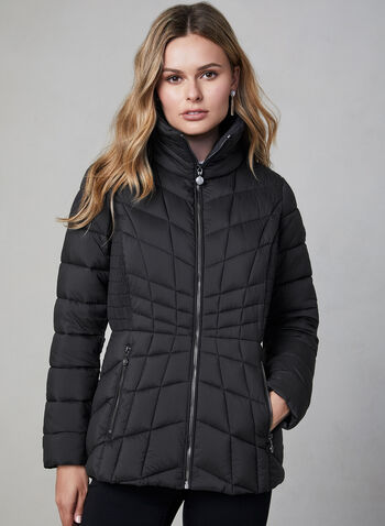 Bernardo - Quilted Packable Coat, Black,  Bernardo, packable, coat, EcoPlume, water resistant, quilted, fall 2019, winter 2019