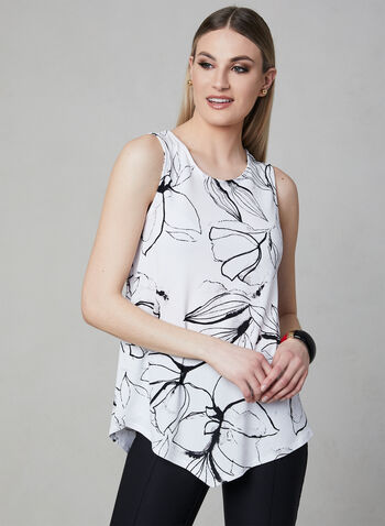 Floral Print Sleeveless Top, White, hi-res,  Spring 2019, sleeveless, crepe, layering top