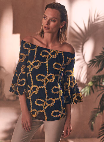 Rope Print Top, Blue,  spring summer 2021, tops, blouses, printed, made in Canada, handkerchief, off shoulder