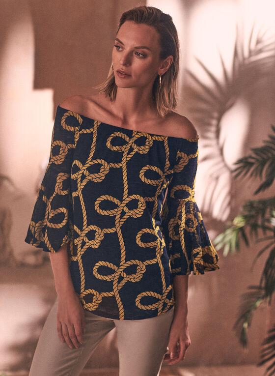 Haut à motif cordes et encolure Bardot, Bleu