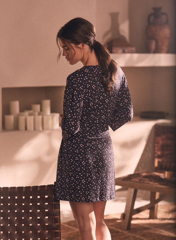 Heart Print Robe & Nightshirt, Black