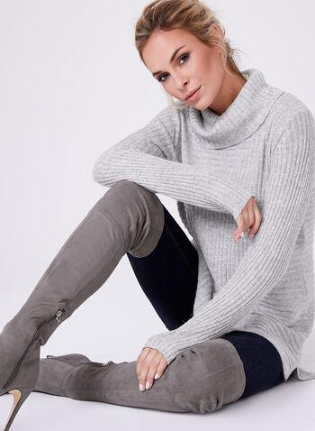 Pull tunique à col roulé en tricot côtelé et angora, Gris, hi-res
