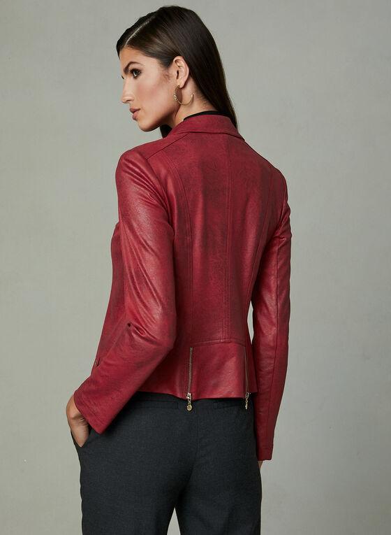 Vex - Veste en similicuir à détails zips, Rouge, hi-res