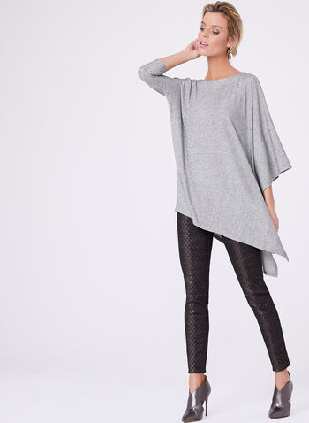 Asymmetric Knit Tunic, Grey, hi-res