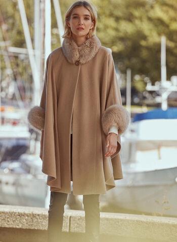 Mallia - Wool & Cashmere Blend Cape, Beige,  fall winter 2019, wool, cashmere, fox fur, outerwear, jacket, poncho