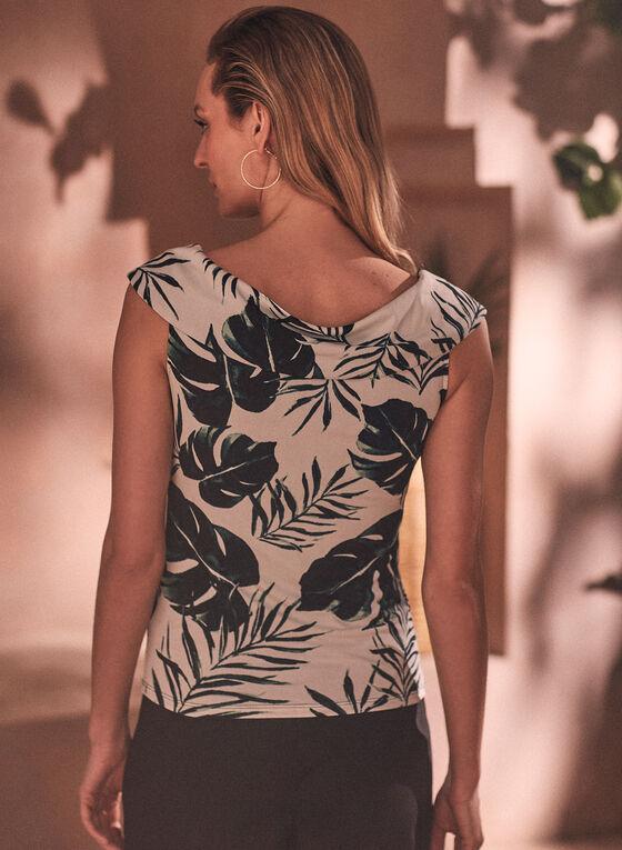 Haut à motif palmier et col drapé, Vert
