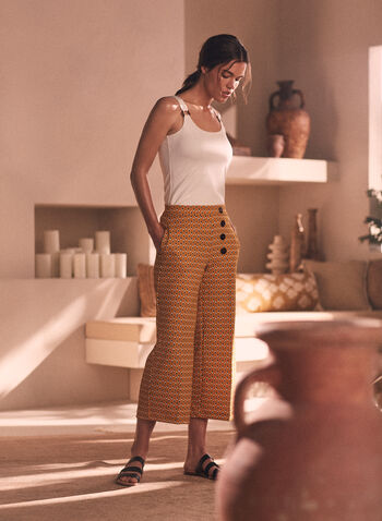 Oval Print Gaucho Pants, Yellow,  pants, gaucho, culottes, pull-on, wide leg, oval, dot, print, pockets, spring summer 2021