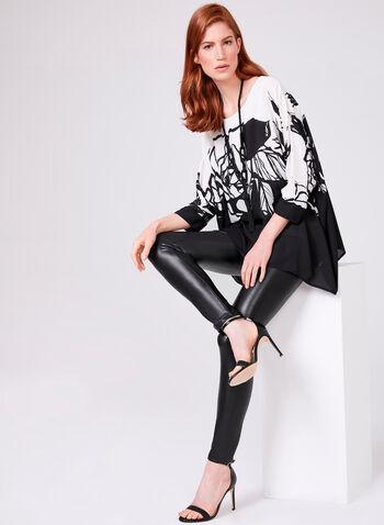 Pantalon pull-on à jambe étroite en similicuir, Noir, hi-res