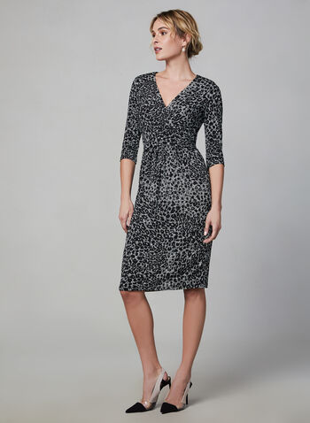 ¾ Sleeve Jersey Dress, Black, hi-res,  dress, day dress, 3/4 sleeves, long sleeves, jersey, print, faux wrap, fall 2019, winter 2019