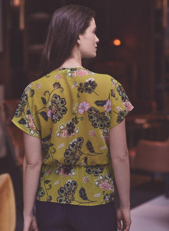 Floral Print Tie Detail Blouse, Green
