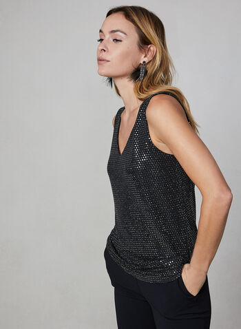Sequin Sleeveless Top, Black, hi-res,  top, camisole, sequins, sleeveless, fall 2019, winter 2019